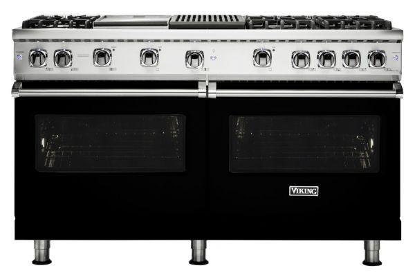 """Large image of Viking Professional 5 Series 60"""" Black Gas Range - VGR5606GQBK"""