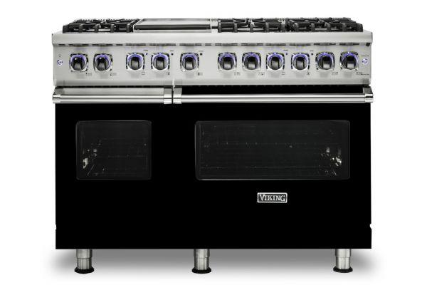 """Large image of Viking 7 Series 48"""" Black Natural Gas Range - VGR74826GBK"""