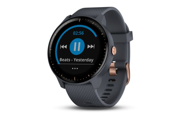 Garmin vivoactive 3 Music Granite Blue with Rose Gold Hardware GPS Smartwatch - 010-01985-31