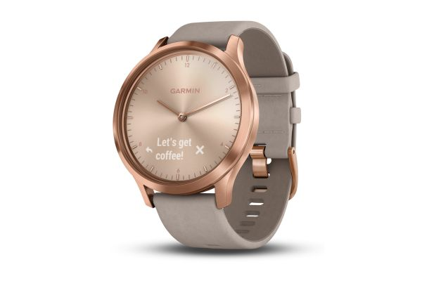 Garmin vivomove HR Rose Gold Stainless Steel Case with Gray Suede Band Smartwatch - 010-01850-19