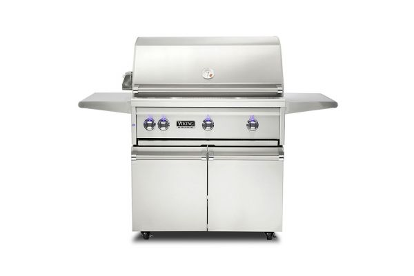 """Large image of Viking 36"""" Stainless Steel Freestanding Natural Gas Grill With ProSear Burner And Rotisserie - VQGFS5361NSS"""