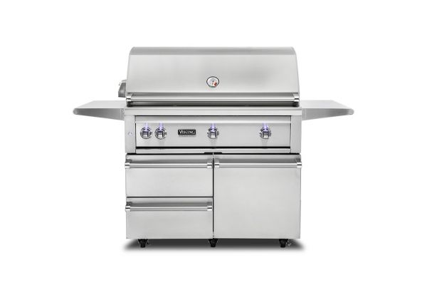 """Large image of Viking 42"""" Stainless Steel Freestanding Liquid Propane Grill With ProSear Burner And Rotisserie - VQGFS5421LSS"""