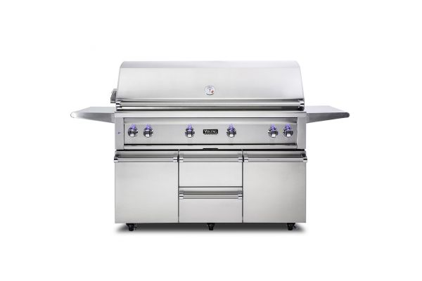 """Large image of Viking 54"""" Stainless Steel Freestanding Liquid Propane Grill With ProSear Burner And Rotisserie - VQGFS5541LSS"""