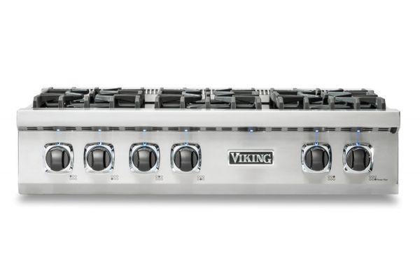 "Large image of Viking 36"" Professional 5 Series Stainless Steel Liquid Propane Rangetop - VRT5366BSSLP"