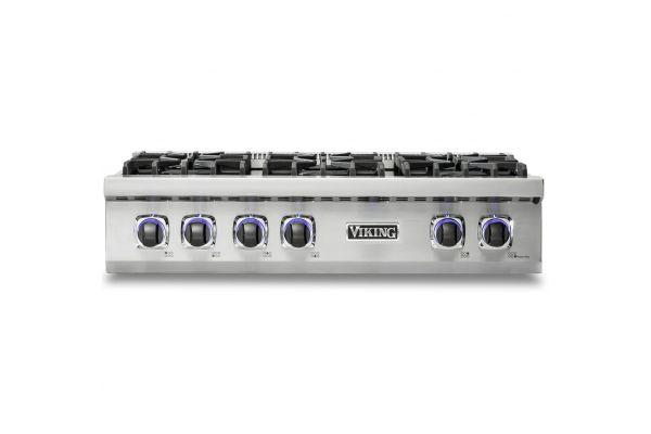 "Large image of Viking Professional 7 Series 36"" Stainless Steel Gas Rangetop - VRT7366BSS"