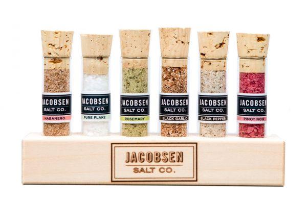 Large image of Jacobsen Salt Co. Six Vial Infused Salt Set With Branded Wood Stand - VSETWDN6
