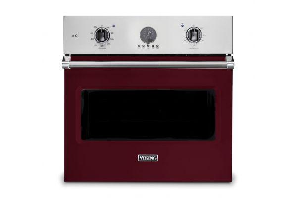 "Large image of Viking 30"" Professional 5 Series Burgundy Premiere Single Wall Oven - VSOE530BU"