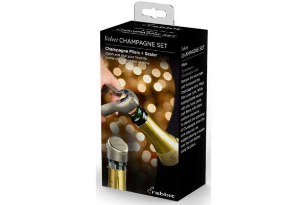 Large image of Rabbit Wine Velvet Champagne Set - W6167