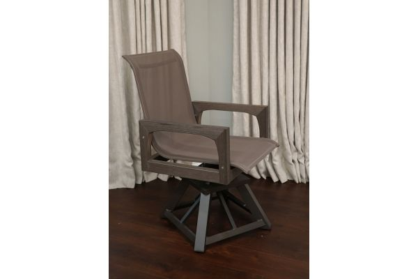 Large image of Klaussner Outdoor Delray Collection Shadow Swivel Rocking Dining Chair - W8503-SRDC