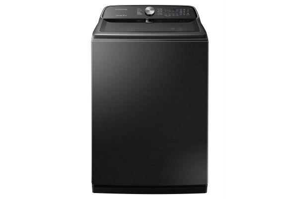 Large image of Samsung 5.4 Cu. Ft. Fingerprint Resistant Black Stainless Steel Top Load Washer - WA54R7200AV/US