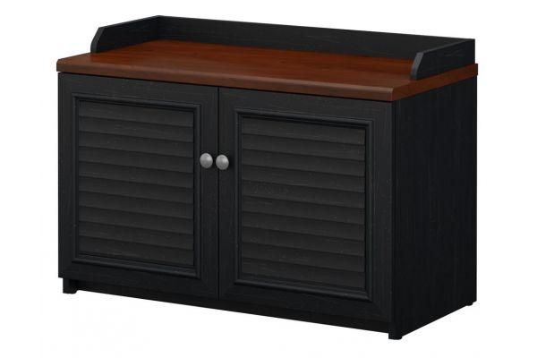 Bush Furniture Fairview Collection Antique Black Shoe Storage Bench - WC53950-03