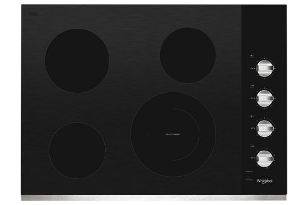 """Large image of Whirlpool 30"""" Stainless Steel Electric Ceramic Glass Cooktop - WCE55US0HS"""