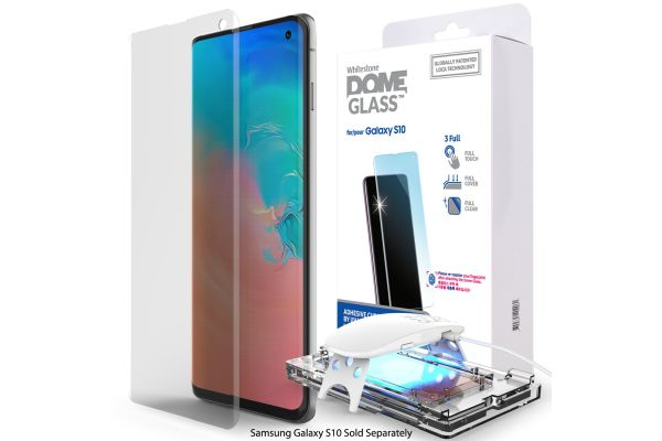 Large image of Whitestone Samsung Galaxy S10 Dome Glass Tempered Glass Screen Protector - GP-G973WTTTAWA