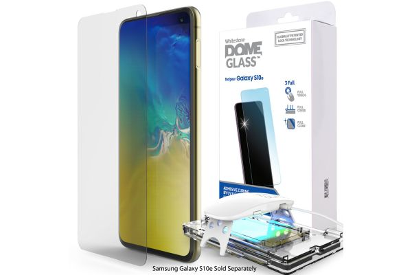 Large image of Whitestone Samsung Galaxy S10e Dome Glass Tempered Glass Screen Protector - GP-G970WTTTAWA