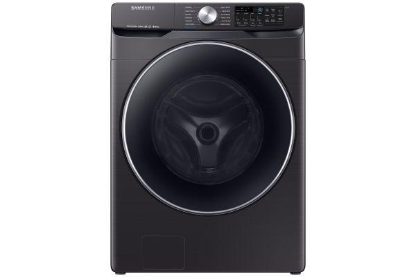 Large image of Samsung Fingerprint Resistant Black Stainless Steel Front Load Steam Washer - WF45R6300AV/US