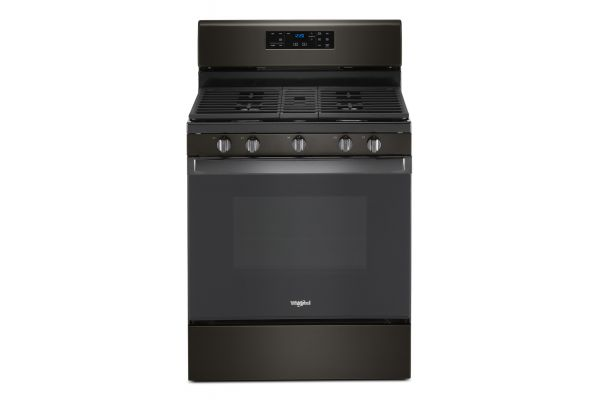 Large image of Whirlpool 5 Cu. Ft. Black Stainless Steel Gas Range With Center Oval Burner - WFG525S0JV
