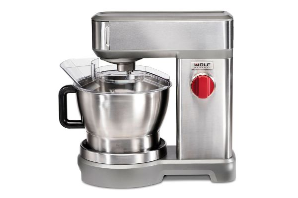 Large image of Wolf Gourmet Stainless Steel Stand Mixer With Red Knob - WGSM100S