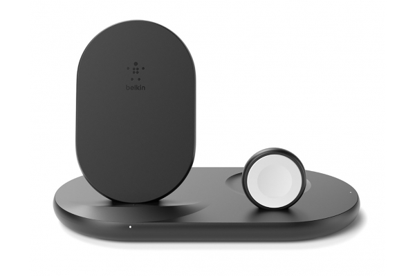 Large image of Belkin BOOST UP CHARGE 3-in-1 Black Wireless Charger for Apple Devices - WIZ001TTBK