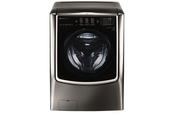 Large image of LG SIGNATURE 5.8 Cu. Ft. Black Stainless Steel Smart Wi-Fi Enabled Front Load Washer - WM9500HKA