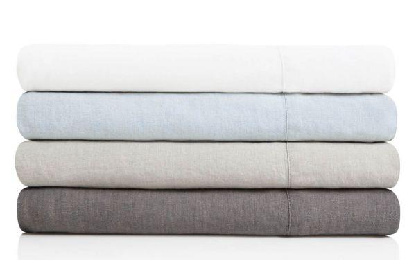 Large image of Malouf Woven White California King French Linen Sheet Set - WO162CKWHLS