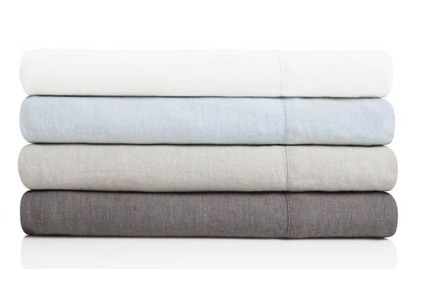 Large image of Malouf Woven Flax King French Linen Sheet Set - WO162KKFLLS