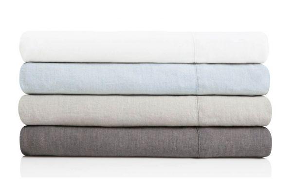 Large image of Malouf Woven White King French Linen Sheet Set - WO162KKWHLS