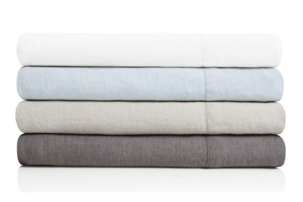 Large image of Malouf Woven Charcoal Queen French Linen Sheet Set - WO162QQCCLS