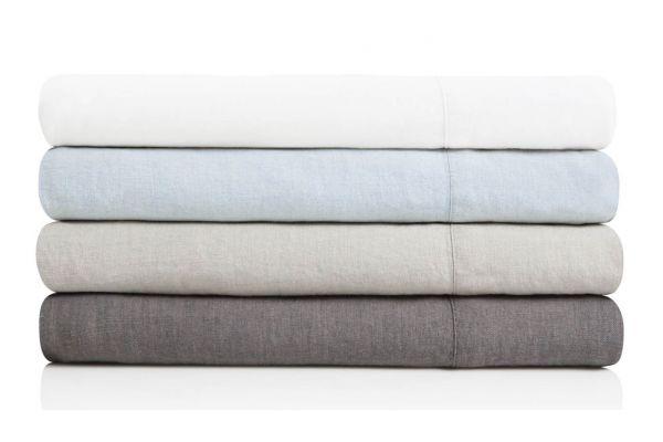 Malouf Woven White Queen French Linen Sheets - WO162QQWHLS