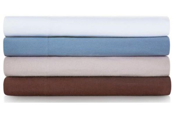 Large image of Malouf Woven White King Portuguese Flannel Sheet Set - WO20KKWHFS