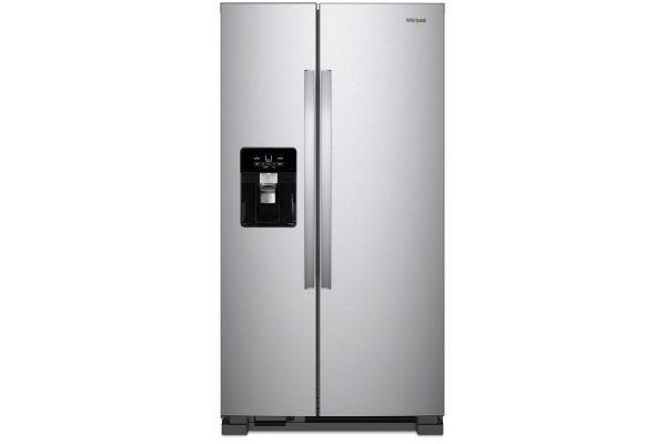 "Whirlpool ADA 33"" Monochromatic Stainless Steel Side-By-Side Refrigerator - WRS331SDHM"