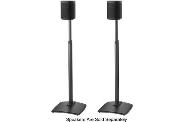 Large image of Sanus Black Adjustable Height Wireless Speaker Stands (Pair) - WSSA2-B1