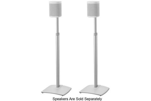 Large image of Sanus White Adjustable Height Wireless Speaker Stands (Pair) - WSSA2-W1