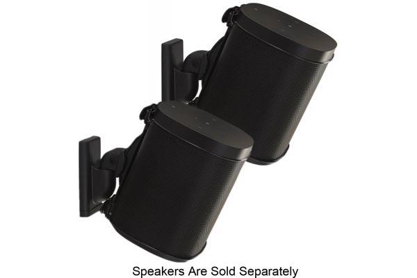 Large image of Sanus Black Wireless Speaker Wall Mounts (Pair) - WSWM22-B1