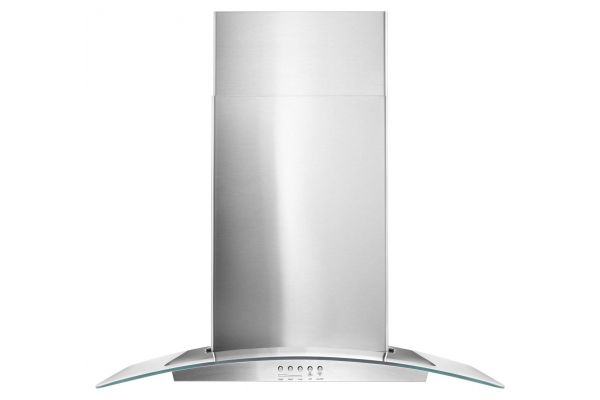 """Large image of Whirlpool 30"""" Stainless Steel And Concave Glass Wall Hood  - WVW51UC0FS"""