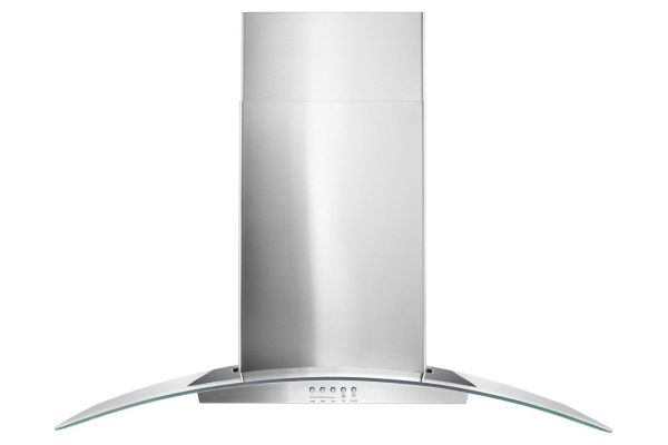 """Large image of Whirlpool 36"""" Stainless Steel and Concave Glass Wall Hood  - WVW51UC6FS"""