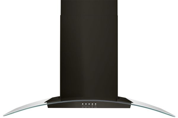 """Large image of Whirlpool 36"""" Black Stainless Steel Concave Glass Wall Mount Range Hood - WVW51UC6HV"""