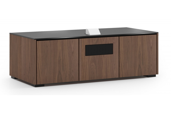 Large image of Salamander Designs Chameleon Collection Siena 237S EPS Medium Walnut w/ Black Solid Surface Top Projector Integrated Cabinet - X3/EPS2/237S/SN/MW/BK