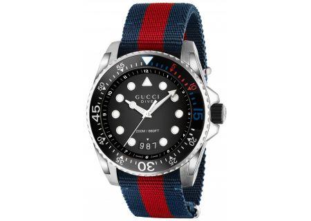 Gucci Dive Blue Nylon Strap Mens Watch - YA136210