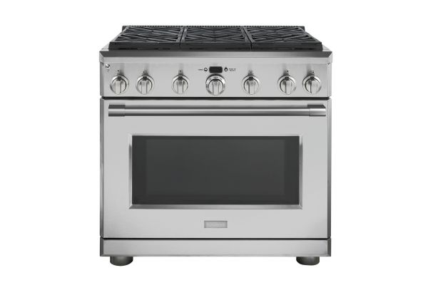"""Large image of Monogram 36"""" Stainless Steel Natural Gas Dual-Fuel Professional Range With 6 Burners - ZDP366NN"""