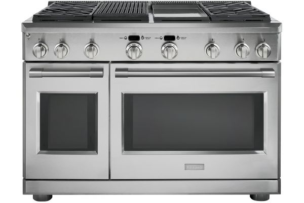 "Monogram 48"" Stainless Steel Dual-Fuel Professional Natural Gas Range With 4 Burners, Grill, And Griddle - ZDP484NGN"