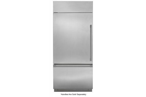 "Large image of Monogram 36"" Stainless Steel Left-Hinge Built-In Bottom-Freezer Refrigerator - ZICS360NNLH"