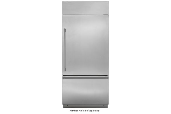 "Large image of Monogram 36"" Stainless Steel Right-Hinge Built-In Bottom-Freezer Refrigerator - ZICS360NNRH"