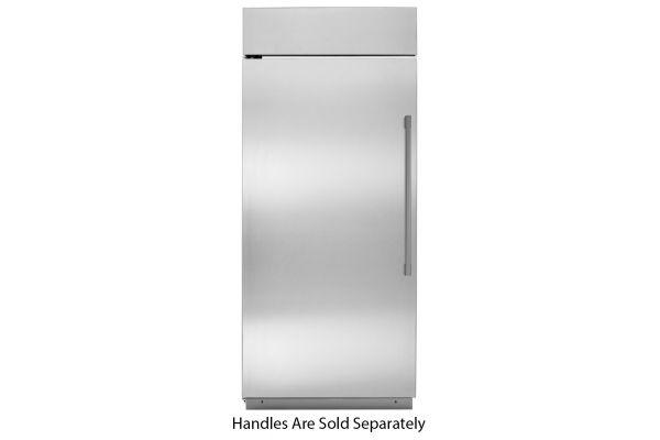 "Large image of Monogram 36"" Stainless Steel Left-Hinge Built-In All Freezer - ZIFS360NNLH"