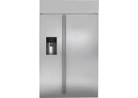 "Monogram 48"" Stainless Steel Built-In Side-By-Side Refrigerator - ZISS480DKSS"