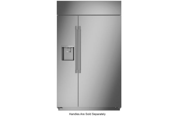 """Monogram 48"""" Stainless Steel Smart Built-In Side-By-Side Refrigerator With Dispenser - ZISS480DNSS"""