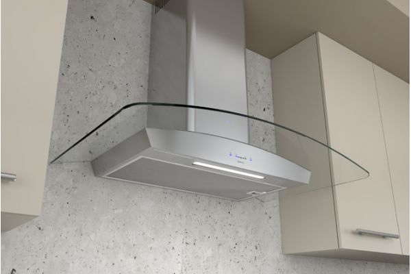 """Large image of Zephyr 30"""" Ravenna Stainless Steel With Clear Glass Wall Hood - ZRVE30BGC"""