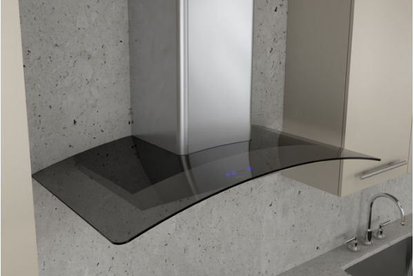 "Large image of Zephyr 30"" Ravenna Stainless Steel With Smoke-Gray Glass Wall Hood - ZRVE30BGG"