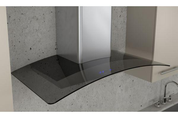 "Large image of Zephyr 36"" Ravenna Stainless Steel With Smoke-Gray Glass Wall Hood - ZRVM90BGG"
