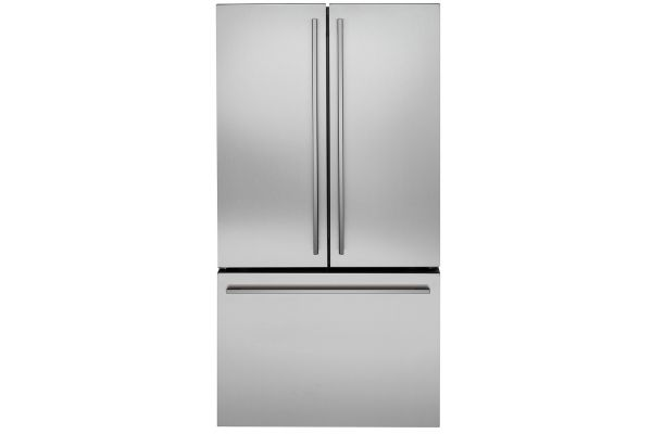 Large image of Monogram ENERGY STAR 23.1 Cu. Ft. Stainless Steel Counter-Depth French-Door Refrigerator - ZWE23ESNSS