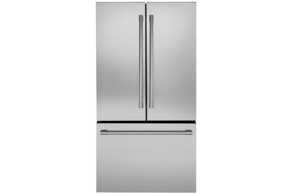 Large image of Monogram ENERGY STAR 23.1 Cu. Ft. Stainless Steel Counter-Depth French-Door Refrigerator - ZWE23PSNSS